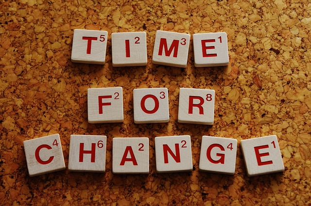 De woorden 'Time for change'